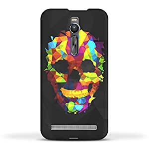 FUNKYLICIOUS Asus Zenfone 2 Back Cover Colorful Geometry Skull Design (Multicolour)