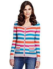 Per Una Striped Cardigan with Angora