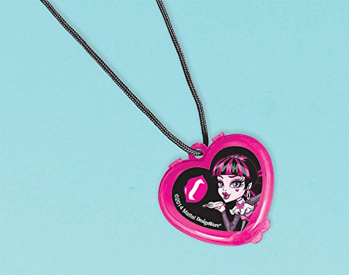 "Amscan Freaky Fab Monster High Heart Shaped Lip Gloss Necklace (1 Piece), Hot Pink/Black/White, 1 x 1"" - 1"