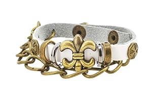 Metal Chain White Fleur De Lis Leather Bracelet, Leather Saints Bracelet, Zen Bracelet