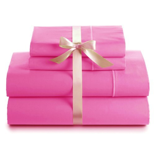 True Organic 600 Thread Count 100% Cotton Deep Pocket Sheet Set, Queen Size, Hot Pink