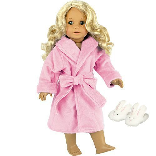 Fits American Girls Dolls - 18 Inch Dolls Pink Robe and Bunny Slippers Set by Sophia's