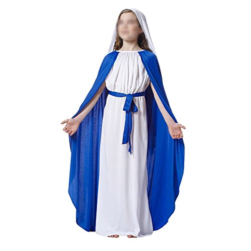 [Flovex Mary Jesus Halloween Costume Nun Priest Festival Party Play Cosplay (Girl Blessed Virgin] (Girls Virgin Mary Costume)