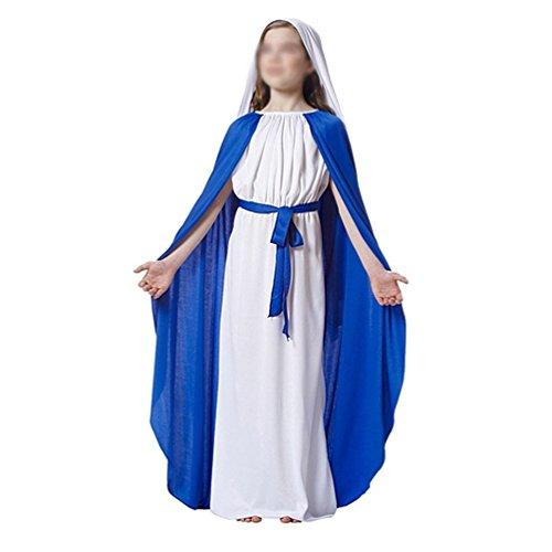 [Flovex Mary Jesus Halloween Costume Nun Priest Festival Party Play Cosplay (Girl Blessed Virgin] (Girls Virgin Mary Costume)