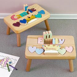 Princess Name Puzzle Stool- letter color: Pastel, stool color: Natural
