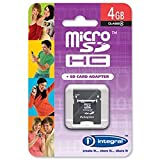 Brand New. Integral Micro SDHC Media Memory Card with SD Adaptor Capacity 4GB Ref INMSDH4G4V2