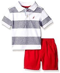 Nautica Baby 2 Piece Stripe Polo Set, White, 6-9 Months