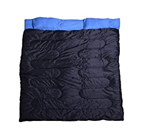 Outsunny 86&quot; X 59&quot; Two-person Double Wide Sleeping Bag Blue / Black