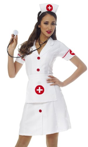Franco Womens White Nurse Dress Outfit Halloween Costume