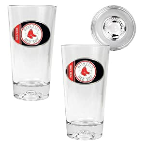 MLB Boston Red Sox Two Piece Pint Ale Glass Set with Baseball Bottom - Oval Logo by Great American Products
