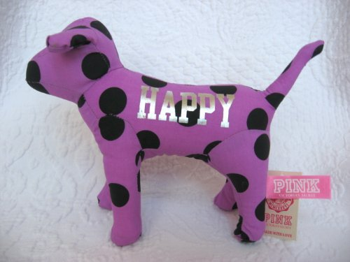 "Victoria's Secret 7"" Plush Purple Polka Dot Dog ""Happy"" - 1"