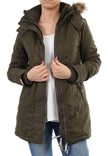 Superdry Parka Women - HOODED MICROFIBRE - Army-Cream