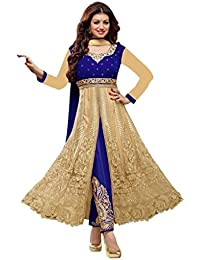 Aryan FashionDesigner Blue And Cream Velvet And Heavy Net Anarkali Suit