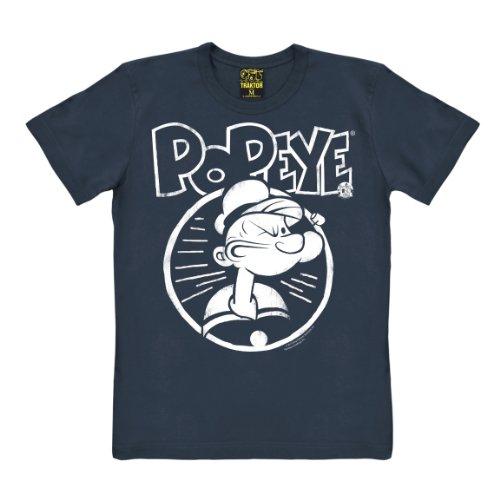T-shirt Braccio di Ferro - Ritratto - maglia Popeye - Portrait - maglietta girocollo - blu scuro - t-shirt originale della marca TRAKTOR®, taglia L