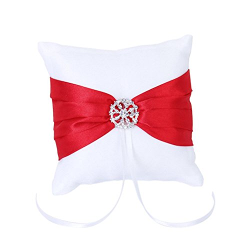 WINOMO 10 * 10cm weiß rot Bowknot Hochzeit Party Tasche Ring Kissen Kissen