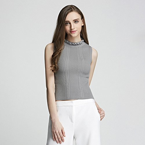 GA&GA Traspirante, gilet in maglia ladies' chiudere petalo collare senza maniche maglione dolcevita donna , gray , one-size
