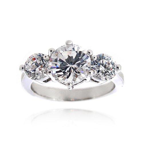 Silver Tone 2.2ct CZ Three Stone Bridal Engagement Ring