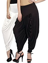 Fashion And Freedom Women's Pack Of 2 White And Brown Viscose Dhoti