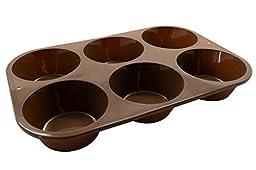 Marathon Housewares KW200016BR Premium Silicone 6 Cup Jumbo Muffin or Cupcake Pan, Brown