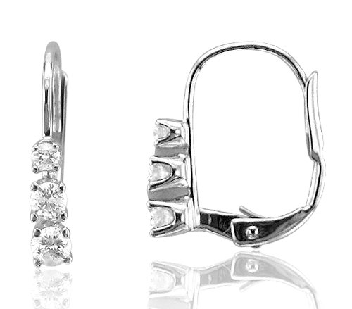 14k White Gold 3 Stone Hoop Huggies Diamond Earrings (GH, SI3-I1, 0.22 carat)