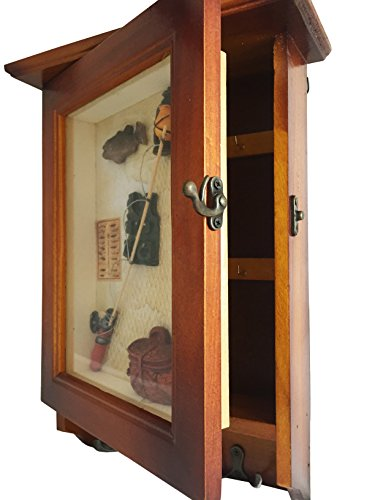 Heartful Home Key Holder Cabinet Wall Mounted Organizer - Save Time & Hassle - Top Quality Decorative Wood Keychain Storage Rack w/ Hooks - Great Housewarming, Wedding, Anniversary Gifts (Fishing)