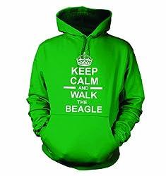 Keep Calm And Walk The Beagle Hooded Sweatshirt Hoody In Green