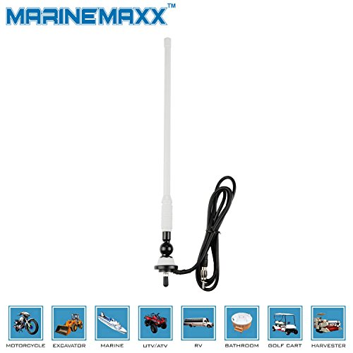 MarineMaxx Waterproof Marine Radio Antenna Rubber Duck Dipole Flexible Mast FM AM Antenna for Boat Car ATV UTV RZR SPA -White