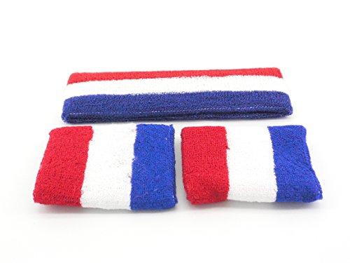 Oidon Sweatband Large Set 1 Headband + 2 Wristband Red White Blue (Red White Blue Headband compare prices)