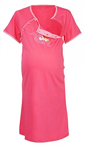 Happy Mama Womens Maternity Hospital Gown Robe Nightie Set Labour & Birth. 384p (Pink, US 4/6)