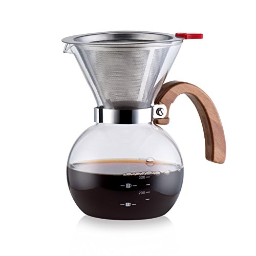 Diguo Glass Drip Decanter Glass Coffee Maker Drip Pot with Stainless Steel Filter 3-4 Cups coffee machine home american style coffee pot drip type fully automatic coffee machine