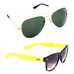 Elligator Stylish Aviator Gold Green And Yellow Wayfarer Sunglasses Combo ( Set of 2 )