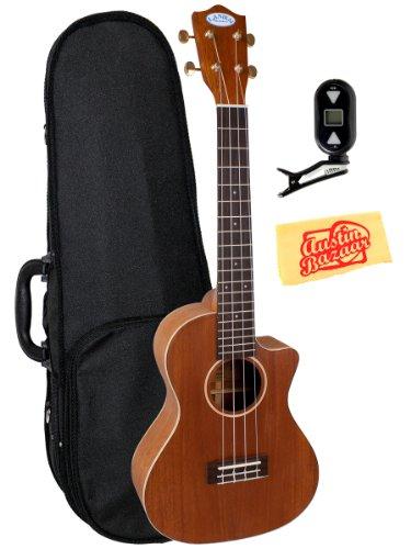 Lanikai Lm-Tca Solid Mahogany Acoustic-Electric Tenor Ukulele Bundle With Polyfoam Case, Tuner, And Polishing Cloth