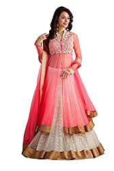 Fashion Dream Women's Pink & White Embroidery & Hand Made Unstitched Free Size XXL Lehenga Choli (Women's Indian Clothing Pink Penther)