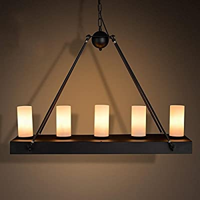 UZI-Lights Creative Arts classic living room lamps and industrial Cafe Hotel Villa wrought iron rectangular marble pendant 720350mm