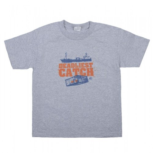 Deadliest Catch Crab Pot Youth T-Shirt - Heather Grey, Medium