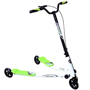 New Kids 3 Wheels Foldable Speeder Scooter Tri Slider Winged Push Motion Drifter Flicker Green Large Type for Age 7+
