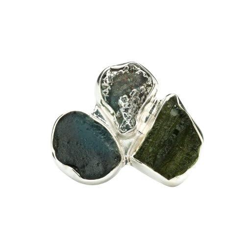 Charles Albert Tri Stone Silver Ring Moldavite Meteorite Tektite