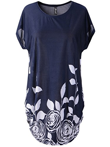 Bibigirl Women's Cape Sleeve Shift Dress Loose Floral Cotton Blends Tee Tops Color Navy Blue Rose Size One Size