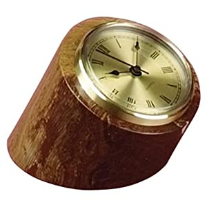 Swirl Amber Marble Tilted Pillar Desktop Clock