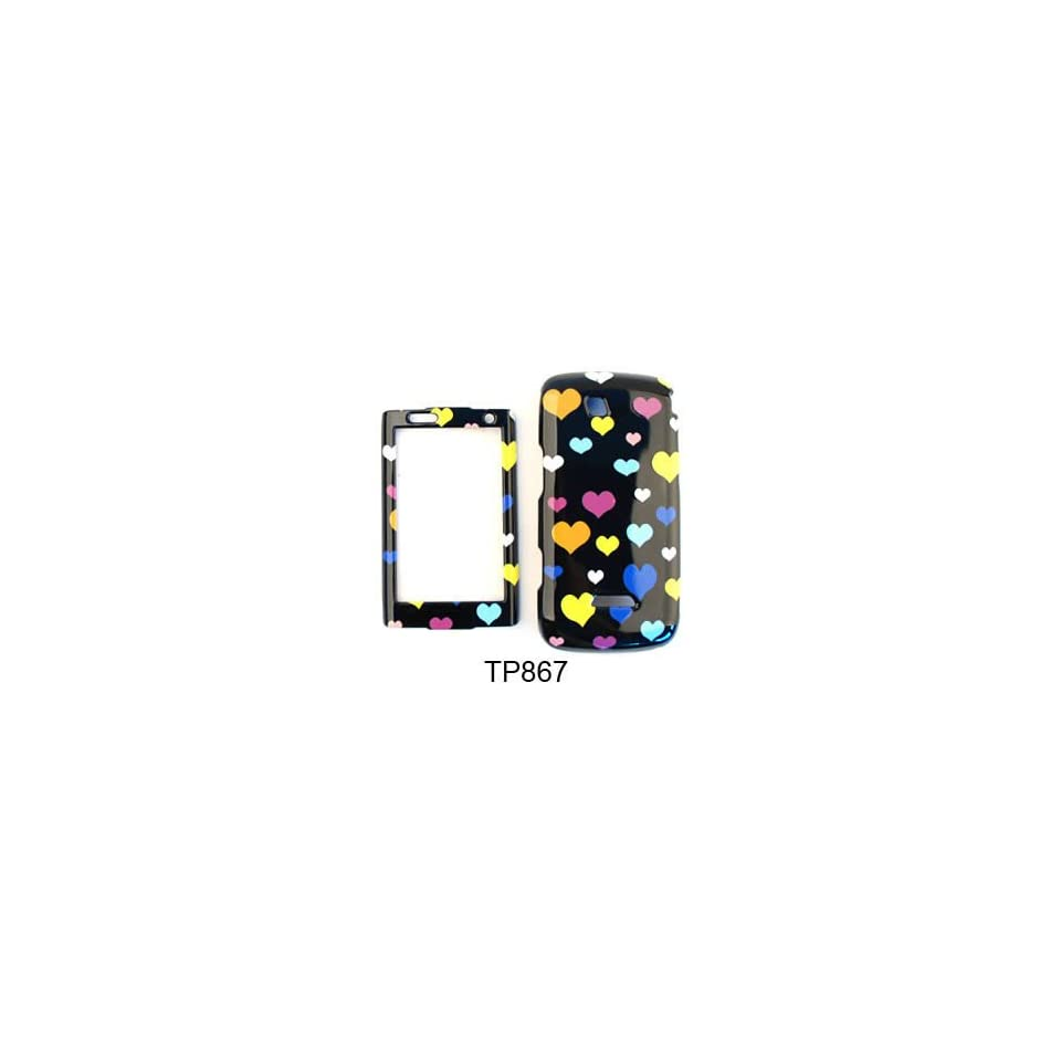 CELL PHONE CASE COVER FOR SAMSUNG SIDEKICK 4G T839 HEARTS ON BLACK