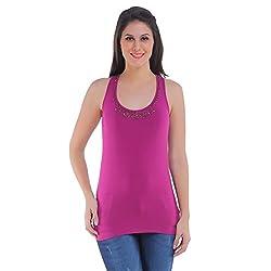 Meish Dark Pink Solid Top for Women