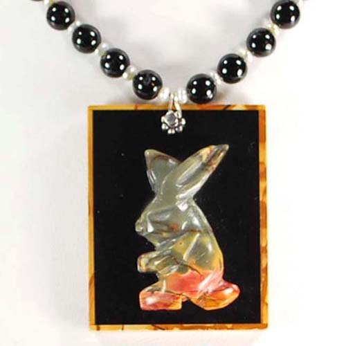 Natural Picasso Jasper Carved Rabbit Pendant Sterling Silver Necklace N12_0422_12
