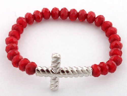 Ladies Blood Red with Silver Twisted Style Cross Glass Beaded Stretch Bracelet