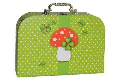 Kinderkoffer MITTEL grün weiße Punkte - Kleeblatt