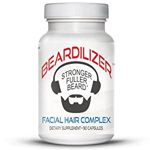 Beardilizer ® - #1 Facial Hair and Beard Growth Complex for Men - 90 Capsules Powerful Nutrients Blend