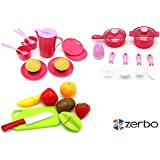 ZERBO Just Like Home Pretend Play Mini Kitchen Set Cooking Toys