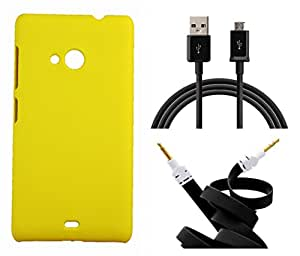 Toppings Hard Case Cover With Aux Cable & Data Cable For Microsoft Lumia 540 - Yellow