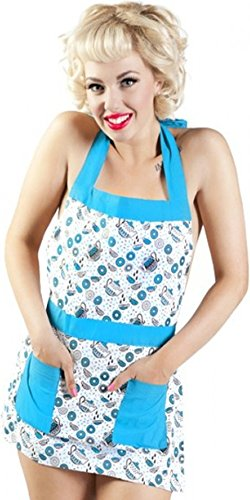 Teal & White Tea and Donuts Apron from Sourpuss Clothing (Teapot Apron compare prices)