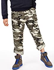 Pure Cotton Camouflage Roll Up Trousers