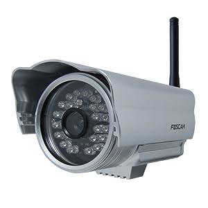 iClever®Foscam - FI8904W Caméra IP de surveillance étanche pour exterieur avec vision de nuit -(l'objectif =3.6mm, l'angle de vision=60°) WiFi/sans fil - argenté